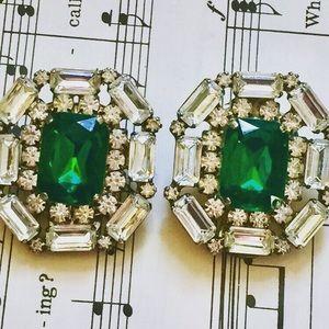 Vintage Emerald Green Crystal Statement Earrings